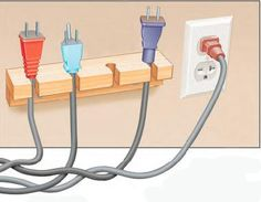 Electrical cords with different coloured plugs for quick differentiation.
