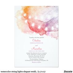 watercolor string lights elegant wedding