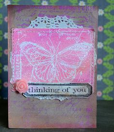 May Flaum using TH/Ranger products & Faber Castell gellatos to make a card; July 2013