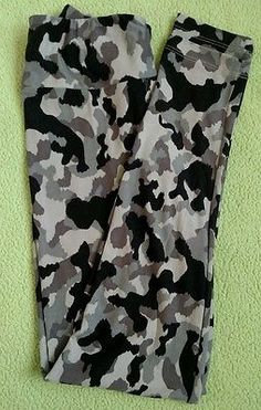 Lularoe-One-Size-Leggings-Black-and-Grey-Camo-New-Print-OS-HTF