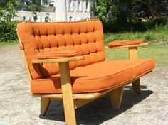 1950's French Sofa Wooden Arms And Finger Back In Light Oak By Guillerme Et Chambron
