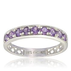Sterling Silver 2.4mm Round Shaped Amethyst Band Ring - $39