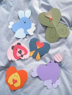 """Heart shaped animals to go with the book """"My heart is like a Zoo"""""""