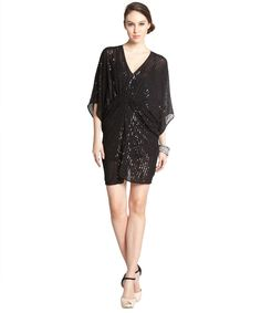 A.B.S. by Allen Schwartz black stretch sequin detail ruched short sleeve 'Batwin' kimono dress | BLUEFLY up to 70% off designer brands
