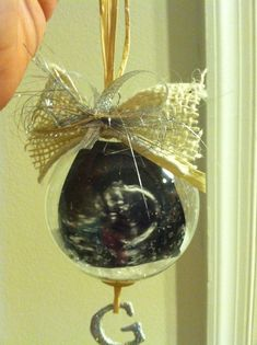 Homemade ultrasound ornament for the grandparents to be! Yes I made this!