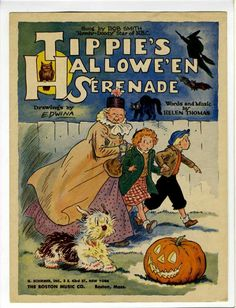 """Tippie's Hallowe'en Serenade,"" words and music by Helen Thomas. So many wonderful, childhood images on the cover of this vintage, sheet music! Artwork by cartoonist Edwina Dumm Retro Halloween, Vintage Halloween Images, Halloween Music, Halloween Books, Halloween Items, Halloween Pictures, Holidays Halloween, Scary Halloween, Halloween Crafts"