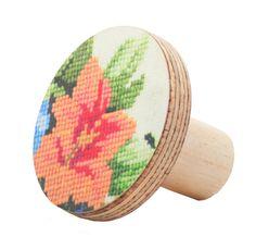 Orange flower unique wooden knobs