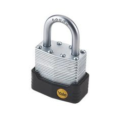 Yale Protector Laminated Steel Padlock Max. High security, laminated steel padlock with cut-resistant boron shackle. Weatherproof jacket and keyway cover for extra protection. Precision 5-pin cylinder with anti-pick mushroom pins and double bal http://www.MightGet.com/april-2017-1/yale-protector-laminated-steel-padlock-max-.asp