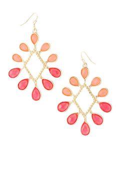 Sunburst Earrings - Coral