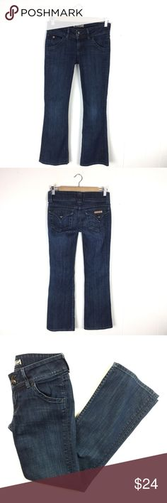 """Hudson Denim Signature Bootleg Jeans // 26 Great pair of Hudson jeans. Cut #A00633. Signature style with back logo pocket. Boot leg fit. Very good condition. 1 small streak under back pocket. See photo. 98% cotton 2% elastan. Size 26. 28 1/4"""" inseam. 7 1/4"""" rise. 14 1/2"""" waist flat. Hudson Jeans Jeans Boot Cut"""