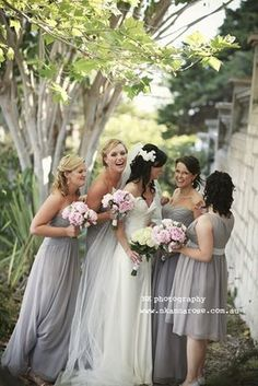 Dove grey bridesmaids with pale pink? I think these colors are so ...