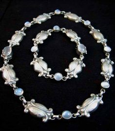 Georg Jensen Silver and Moonstone necklace (37cms) and bracelet