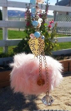 Super Cute! Purse, Key Chain and Car Rear View Mirror Charm: Pink Fluffy PomPom with Heart, Sparkle Bling Dangle Jewelry