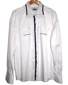 Mondo White Blue Lining Cotton Fancywork Men Dress Shirt Size 3XL NEW  #Mondo #ButtonFront