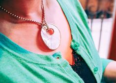 Round Mother of Pearl Seashell Sterling Silver Pendant