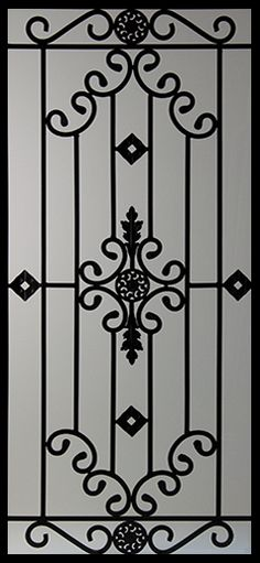 Wrought Iron Door Inserts - Dalemont Stocked by Randal's Wrought Iron & Stained Glass serving the Greater Toronto Area and surrounding areas. Grill Gate Design, Iron Gate Design, Window Grill Design, Metal Gates, Wrought Iron Doors, Iron Front Door, Iron Furniture, Steel Furniture, Iron Windows