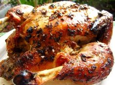 This is really flavorful and juicy roast chicken.  Even my husband, who is growing tired of chicken, picks the bird clean when I make this one.  From Fine Cooking, #22.  Marinating time included in the prep time.