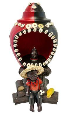 "15"" House of Elegua Casa Statue Santeria Siete Potencias African God Powers"
