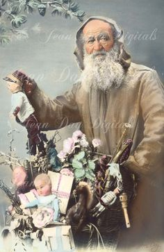 French Christmas Pere Noel Victorian Santa with Toys by jdayminis Merry Christmas In French, Vintage Christmas Photos, Victorian Christmas, Christmas Images, Christmas Postcards, Vintage Photos, Vintage Cards, Santa Claus Images, Vintage Santa Claus
