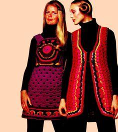 """Vintage 70's Hippie Crochet Tapestry """"JUMPER"""" Dress PDF Pattern - WOODSTOCK"""
