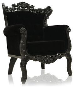 Do you love the look of gothic furniture? The Royal Armchair, Black Velvet is a spooky chic chair that brings a sense of mystery and fun to any home! This Victorian inspired design will be a real treat to your decor! Baroque Decor, Modern Baroque, Gothic Home Decor, Gothic Furniture, Furniture Decor, Gothic Chair, Black Furniture, Victorian Chair, Furniture Stores