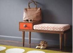 Bench Brown Orange by Orla Kiely (inspiration: home for the purse. Bench and tray could work too) Retro Furniture, Home Furniture, Furniture Design, Hallway Furniture, Furniture Chairs, Furniture Outlet, Discount Furniture, Ok Design, Deco Design