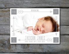 birth announcement ideas, Arrows Birth Announcement BOY or GIRL. $15.00, via Etsy.