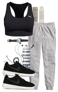 """Damon inspired work out outfit"" by tvdstyleblog ❤️ liked on Polyvore featuring Henri Bendel, Korres, H&M, Puma, Victoria's Secret, NIKE and Molami"