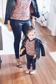 Mommy and Me Matching Sweaters - Black and Coral Cheetah Print An animal print with a twist for stunning mother and daughter outfits this fall and winter!