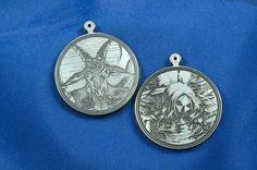 Heaven and Hell commision.Titanium pendants, laser engraved. Drawing by Mark Šidlovský.