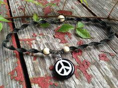 Glass Peace Sign PendantBlack Organic Hemp Spiral by TheSunLab, $23.00