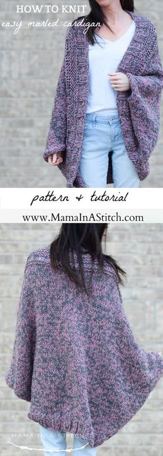 Easy Relaxed Marled Cardigan Knitting Pattern via @MamaInAStitch This is a simple pattern and there's pictures to show you how it's knit! Great for a beginner knitter too. #crafts #diy #Freeknittingpattern