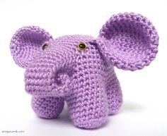 This is more of a pictorial assembly tutorial than a pattern.  (i.e. how to attach the legs to the tummy) Crochet Amigurumi Elephant