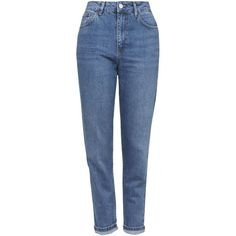 TOPSHOP MOTO Authentic Blue Mom Jeans ($70) ❤ liked on Polyvore featuring jeans, blue, high rise jeans, vintage jeans, topshop jeans, tapered leg jeans and topshop