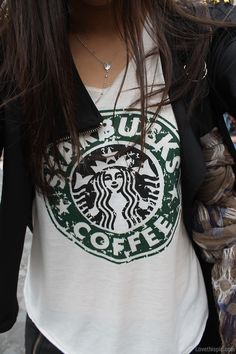 Starbucks t-shirt fashion hair starbucks girl jewelry coffee