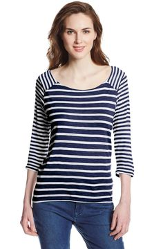 Levi's 3/4 Sleeve Blocked Striped Boat Neck Tee