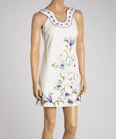 Look what I found on #zulily! Aryeh Violet & Off-White Floral Beaded Sleeveless Dress by Aryeh #zulilyfinds