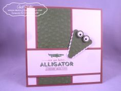HOW-TO: Alligator  Step 1: Punch out 1 Scallop Pennant from the Petite Pennants Builder Punch from Gumball Green cardstock. Step 2: Using th...