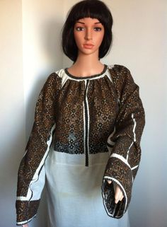 Vintage traditional Romanian blouse (IIE) Folk Costume, Costumes, Folk Clothing, Eastern Europe, Ethnic, Sequin Skirt, Textiles, One Piece, Traditional