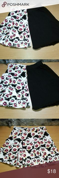 Bundle of skater skirts black and floral Both size Medium. Great condition. One Mossimo, solid black. The other floral print. Skirts Circle & Skater