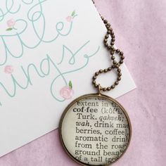 Coffee Necklace-Vintage Dictionary Word Pendant,  Dictonary Word Necklace, coffee lover pendant, ooak coffee pendant