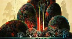 Eyvind Earle®  Eyvind Earle® created luscious backgrounds illustrator and styling for Disney animated films in the 1950's. This is a nice piece about the artist. The color, shapes, patterns takes my breath away.