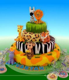 of jungle animals. - cake of jungle animals. Safari Birthday Party, Jungle Party, Baby Birthday, Jungle Theme Cakes, Safari Cakes, Safari Theme, Party Animals, Animal Party, Jungle Animals