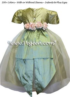 b282930520c Flower girl dress in Sage Green and Celadon Green Pegeen Classic Style 313