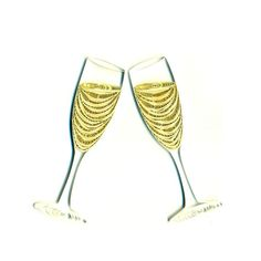 Quilled Champagne Glasses Wedding Card by Acnolee on Etsy