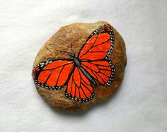 Hand Painted Monarch Butterfly Stone by CraftSisters3 on Etsy