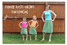 t-shirt - t-shirt makeovers - recycled t-shirt project - Sugar Bee Crafts: sewing, !: Easy Knit Skirt Tutorial from a t-shirt (shirt)