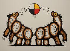 Kitigan Jerimiah Mason - Four Directions Bears, American Indian Art, Native American Art, Woodland Art, Haida Art, Aboriginal Artists, Medicine Wheel, Nativity Crafts, Canadian Art, Bear Art