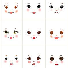 Sweet and simple cloth doll faces ready to sew fabric panel white A8W
