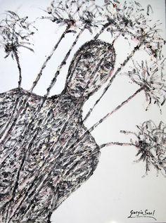 Happy among the palm trees, 1995, synthetic wax on handmade cardboard 77x57 cm